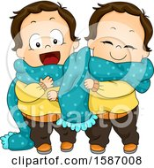 Poster, Art Print Of Toddler Twin Boys Sharing A Scarf