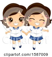 Clipart Of Twin Girls In Matching School Uniforms Royalty Free Vector Illustration