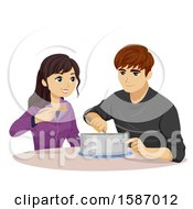 Teen Couple Eating A Rice Dish From A Pot