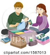Clipart Of A Teen Couple Packing Luggage For A Trip Royalty Free Vector Illustration