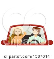 Clipart Of A Teen Couple In A Convertible Car Royalty Free Vector Illustration