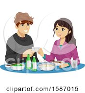 Clipart Of A Teen Couple Drinking Soju Royalty Free Vector Illustration