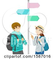Clipart Of A Teen Couple Looking At Street Signs While Traveling Royalty Free Vector Illustration