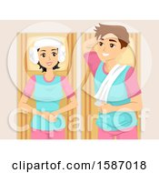 Clipart Of A Teen Couple At A Korean Spa Royalty Free Vector Illustration