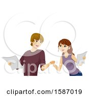 Clipart Of A Teen Couple Practicing Their Acting Roles Royalty Free Vector Illustration