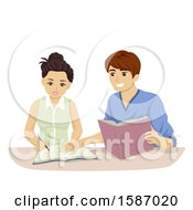 Clipart Of A Teen Couple Studying Royalty Free Vector Illustration