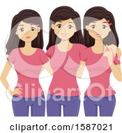 Clipart Of A Group Of Teen Triplet Girls Wearing Matching Clothes Royalty Free Vector Illustration