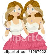 Clipart Of Teen Twin Girls Wearing Matching Dresses Royalty Free Vector Illustration