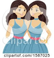 Clipart Of Teen Twin Girls In Matching Blue Prom Dresses Royalty Free Vector Illustration