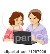 Teen Girl Teaching Her Mom How To Use A Laptop Computer