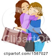 Clipart Of Teen Girls Hugging Royalty Free Vector Illustration