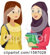 Teen Girls One Wearing A Hijab
