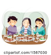Teenagers Eating Grilled Meat At A Restaurant