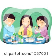 Clipart Of Teens Eating And Drinking Soju Inside A Street Side Tent Royalty Free Vector Illustration by BNP Design Studio