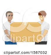 Clipart Of Teen Guys Carrying A Large Donation Box Royalty Free Vector Illustration