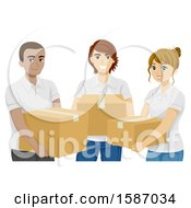 Clipart Of A Group Of Teens Carrying Donation Boxes Royalty Free Vector Illustration