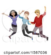 Clipart Of A Group Of Teens Jumping Royalty Free Vector Illustration