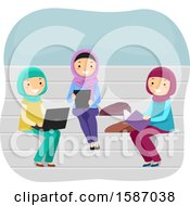 Group Of Female Muslim Teens Studying On Benches