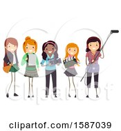Clipart Of A Group Of Teens Making A Film Royalty Free Vector Illustration by BNP Design Studio