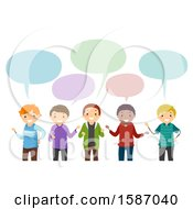 Clipart Of A Group Of Male Teens Talking Royalty Free Vector Illustration
