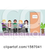 Clipart Of A Group Of Teens Sitting Outside A Casting Office Royalty Free Vector Illustration
