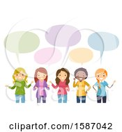 Clipart Of A Group Of Female Teens Talking Royalty Free Vector Illustration