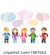 Clipart Of A Group Of Teens Talking Royalty Free Vector Illustration