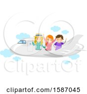 Clipart Of A Group Of Teens On An Airplane Royalty Free Vector Illustration