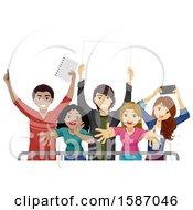 Clipart Of A Group Of Teen Fans Behind A Barrier Royalty Free Vector Illustration
