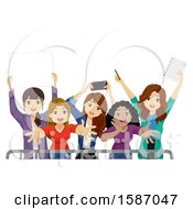 Clipart Of A Group Of Female Teen Fans Behind A Barrier Royalty Free Vector Illustration
