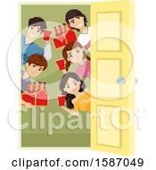 Clipart Of A Group Of Teens With Alcohol Around An Open Door Royalty Free Vector Illustration