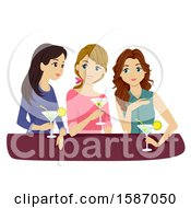 Clipart Of A Group Of Teens Or Young Women Drinking Cocktails Royalty Free Vector Illustration by BNP Design Studio
