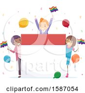 Clipart Of A Group Of Teens Celebrating Pride Around A Calendar Royalty Free Vector Illustration