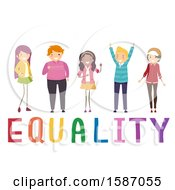 Clipart Of A Group Of Teens Over Equality Text Royalty Free Vector Illustration