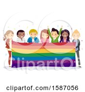 Clipart Of A Group Of Teens Celebrating Pride With A Giant Rainbow Flag Banner Royalty Free Vector Illustration