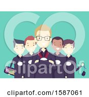 Clipart Of A Group Of Teen Online Gamers Royalty Free Vector Illustration