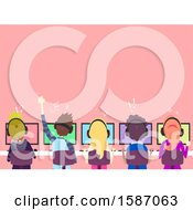 Poster, Art Print Of Rear View Group Of Teens Playing Video Games