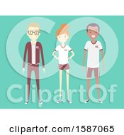Clipart Of A Group Of Teens In Pe Uniforms Royalty Free Vector Illustration