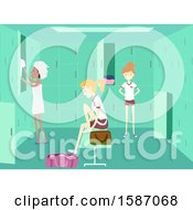 Clipart Of A Group Of Teen Girls In A Locker Room Royalty Free Vector Illustration