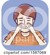 Clipart Of A Boy Massaging The Side Of The Nose Near The Bridge To Alleviate Pressure From Sinus Infection Royalty Free Vector Illustration