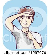 Clipart Of A Man Wiping Forehead With Wet Underarms And Chest Excessive Sweating Royalty Free Vector Illustration