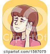 Clipart Of A Woman Holding A Painful Ear Royalty Free Vector Illustration
