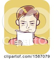 Clipart Of A Man Squinting His Eyes While Reading Text On Paper Royalty Free Vector Illustration