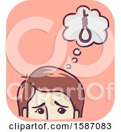 Clipart Of A Man Or A Woman Thinking About Suicide Royalty Free Vector Illustration