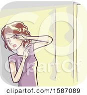 Clipart Of A Woman Avoiding Bright Light Due To Light Sensitivity Royalty Free Vector Illustration