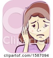 Clipart Of A Woman With Red Veiny Spot On Her Face Royalty Free Vector Illustration