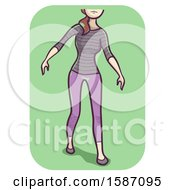 Clipart Of A Woman Walking With Unsteady Gait Royalty Free Vector Illustration