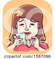 Clipart Of A Woman With An Itchy Nose Holding Handkerchief Royalty Free Vector Illustration
