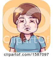 Clipart Of A Woman With A Swollen Face Royalty Free Vector Illustration