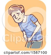 Clipart Of A Man With Pain In Lower Right Abdomen As Symptom Of Appendicitis Royalty Free Vector Illustration